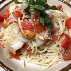 簡単混ぜるだけ☆トマトとツナの冷製パスタ