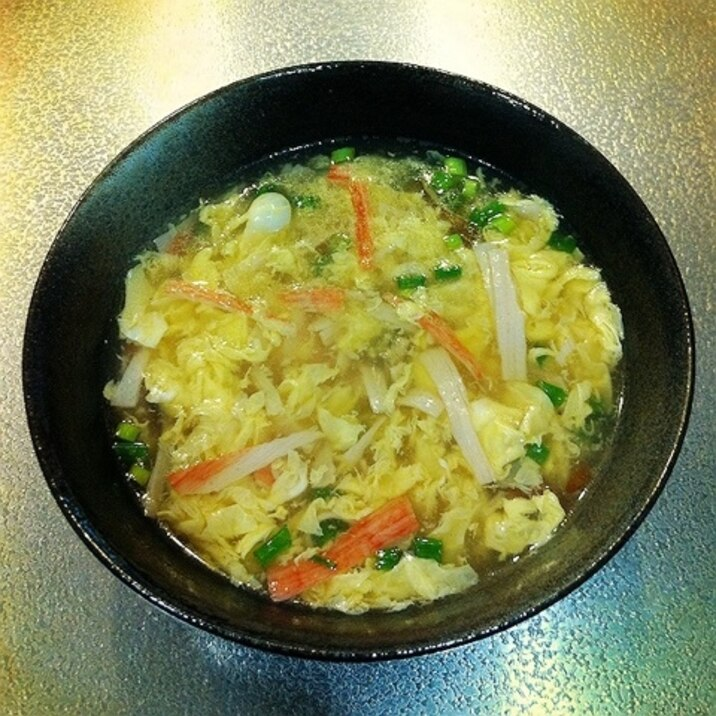 簡単中華♪ふんわり卵とカニカマのスープ☆