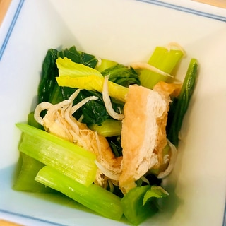 小松菜と油揚げ、しらすの煮物