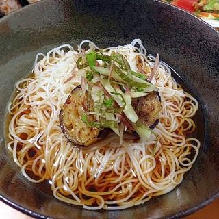 胡麻が香る焼きナス素麺\(-o-)/