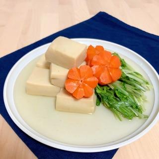 高野豆腐とにんじんと水菜の含め煮