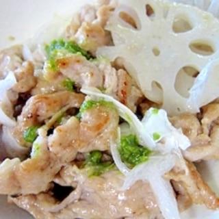蓮と豚肉セロリサラダ