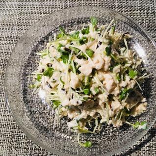 豆腐と貝割れの塩昆布サラダ