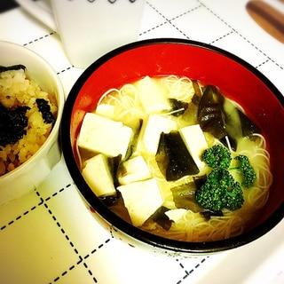 ♡体調不良に豆腐&ワカメ味噌汁煮麺♡