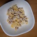 大豆と炒り卵の梅マヨ和え
