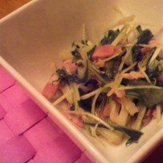 水菜とベーコンのさっと炒め
