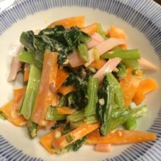 小松菜と人参の薬味ごま和え