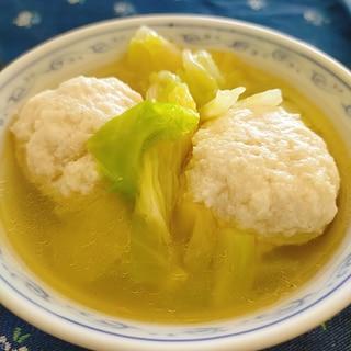 ふわっふわ♪豆腐だんごときゃべつのスープ♪
