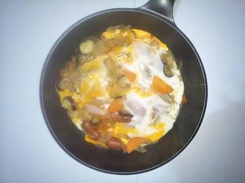 新玉ねぎと茄子の卵とじ