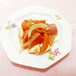 枇杷入り♪お豆腐とソーセージの甘酢炒め