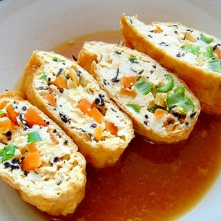 ヘルシー☆豆腐の五目巾着煮