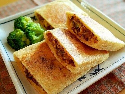 サバ味噌煮缶と豆腐のサクサク油揚げ焼き♪