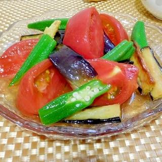 トマト茄子オクラ(夏野菜)のめんつゆびたし