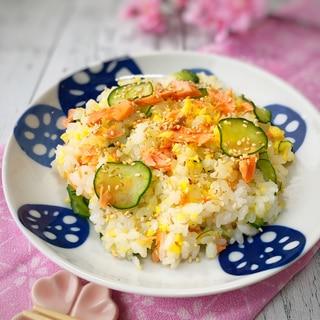 鮭ときゅうりと炒り卵のちらし寿司