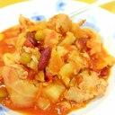 簡単ヘルシー(^^)豚肉+キャベツ+豆のトマト煮♪