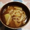 レンコンとジャガイモのお味噌汁♪
