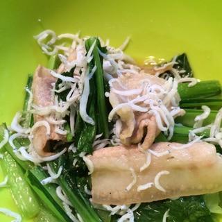 小松菜と豚コマのしらす炒め