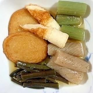 蕗、わらび、ねじり糸こんにゃくの煮物