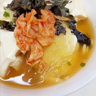 スープ春雨で(^^)豆腐たっぷりキムチクッパ♪
