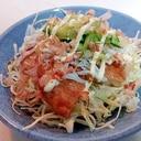 キャベツ・玉葱天・しらす・胡瓜の和風サラダ