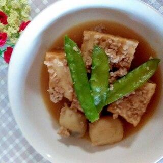 素朴♩厚揚げとひき肉と里芋の煮物