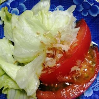 レタスとトマトのポン酢、鰹節かけサラダ