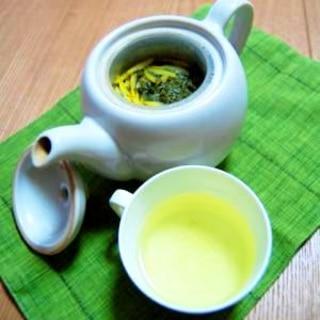 柚子の皮で♪柚子緑茶