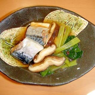 5分で簡単♪鯖の缶詰&小松菜&椎茸の、煮物