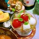 帆立とトマトとモッツァレラチーズの和風マリネ