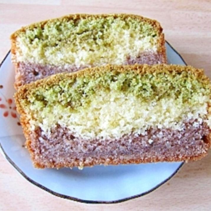 抹茶&餡子で和風3色パウンドケーキ