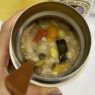 夏野菜の鶏がらスープ オートミール約200kcal