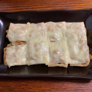 トースターで♪ 納豆きつねピザ