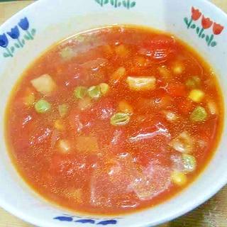 ミックスベジタブルとベーコンのスープ/トマト味