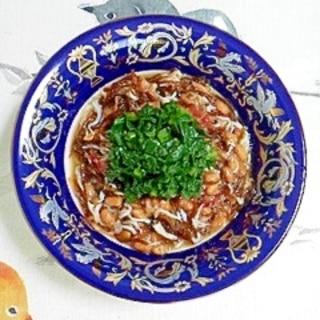 納豆に小松菜とかつおぶし
