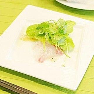 鯛のカルパッチョ 2種のドレッシング
