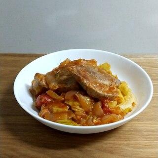 【塩麹で簡単】豚肩ロースと春キャベツのトマト煮