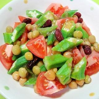 トマトとオクラお豆のサラダ