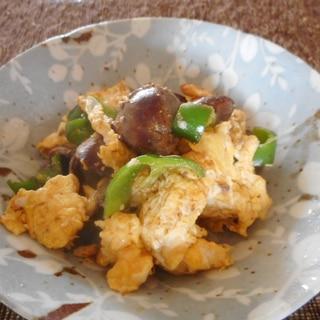卵とレバーとピーマンの炒め物