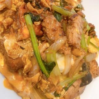味噌煮サバ缶と小松菜のふんわり卵とじ♪