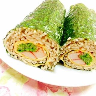 ❤水菜と薄焼き卵とカニかまのソバ寿司❤
