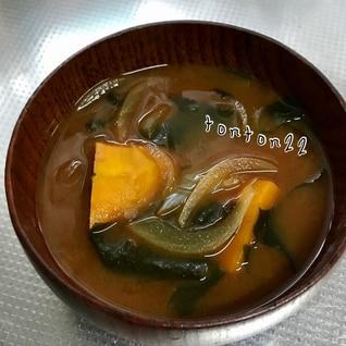 ゴロッとかぼちゃと玉ねぎの味噌汁☆