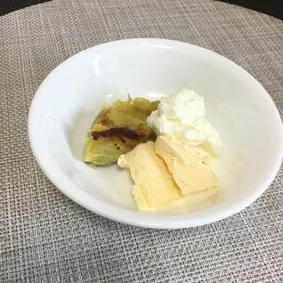 焼き芋と生クリームバニラアイス♡
