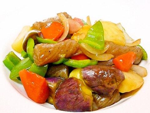 ねじり糸こんにゃくと野菜の黒糖黒酢炒め