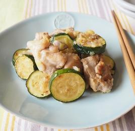 鶏とズッキーニのネギ塩炒め