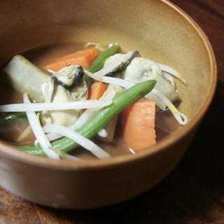 牡蠣とゴボウの味噌鍋