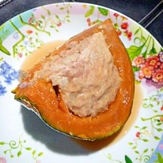 美味しい秘訣はマヨ!「かぼちゃの肉詰めあんかけ」