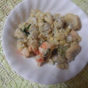 そら豆と海老と卵の塩炒め