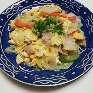 簡単♪肉野菜の卵炒め