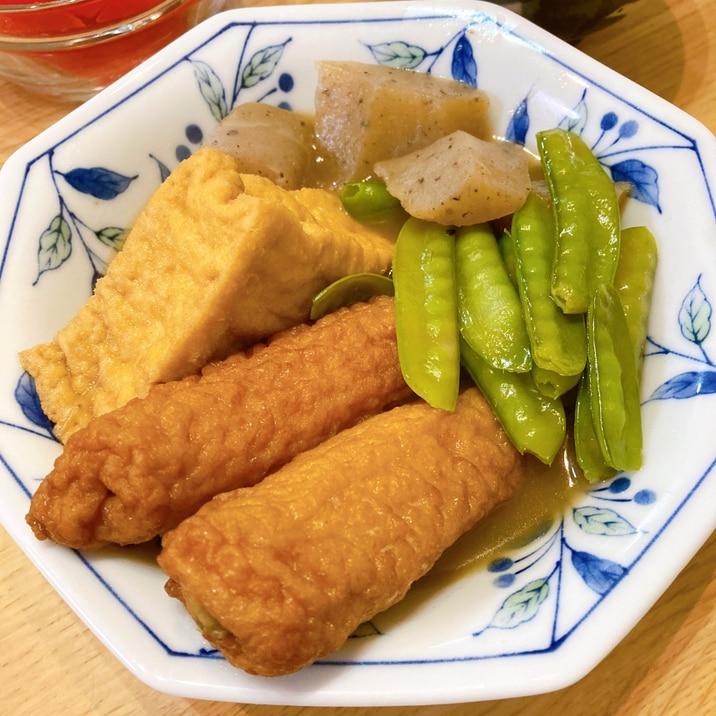 リメイクレシピ☆さばの煮付汁で厚揚げと絹さやの煮物