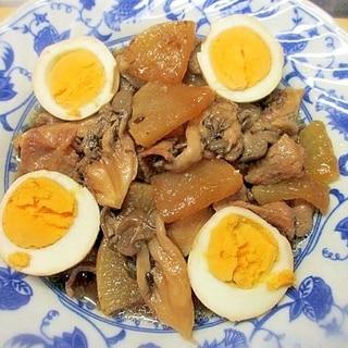 大根・豚肉・ヒラタケ・卵の炒め煮